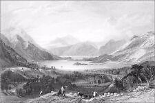 ÉCOSSE (SCOTLAND) - LOCH LEVEN en regardant vers BALLAHUISH FERRY - Gravure 19e