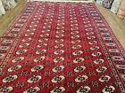 "Vintage Red Bokhara Area Rug Semi Antique Turkoman Carpet Handmade 8' x 12' 5"""
