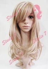W62 Honey Blonde Highlight Long Wavy Ladies Wig Synthetic Skin Top studio7-uk