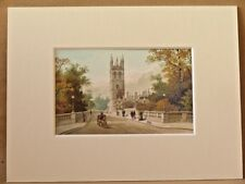 MAGDALEN FROM THE BRIDGE OXFORD SUPERB QUALITY ANTIQUE MOUNTED CHROMO PRINT 1889