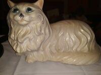 """Large White Ceramic Cat Kitten Laying Vintage Blue Eyes Handmade 17"""" L Bank"""
