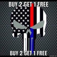 Punisher Blue Lives Matter Police USA American Thin Line Flag Fire Decal Sticker