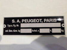 Plaque Signalétique Id-plate PEUGEOT 404 304 504 204 TARGA plaques TU constructeur s23