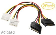 2-Pack 6-inch SATA 15-Pin Male to Molex 4-Pin Female Power Adapter, PC-025-2