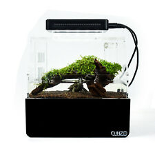 Black Desktop Fish Tank With Led Light Decor Aquarium Water Filtration Air Pump