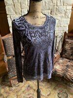 Simply Vera Vera Wang Lavender Semi Sheer Velvet Burnout Top Blouse Shirt Small