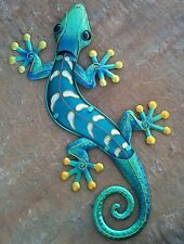 "Large Handcrafted Metal Gecko 24"" Blue Gold Finish Wall Art Home Decor"