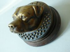 More details for mounted architectural staffordshire bull terrier dog head brass door knocker #1