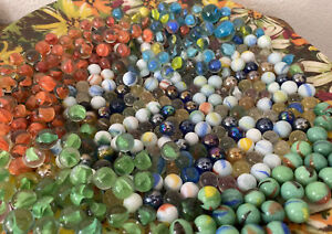 Vintage Huge Mixed Lot of Glass Marbles and Shooters Swirls, Jadeite And More