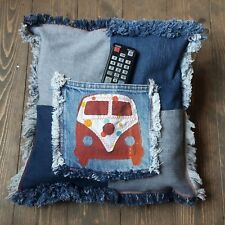 Camper Van Style Storage Cushion Cover, Handmade Remote Control Holder, Pocket