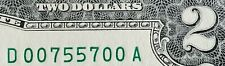 RADAR / LOW Serial Number # 2009 $2 Dollar Bill / Federal Reserve Note Fancy CU