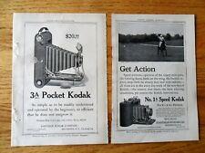 TWO 2 Print Ads Kodak 1A Speed and Kodak 3A Pocket Camera  1911