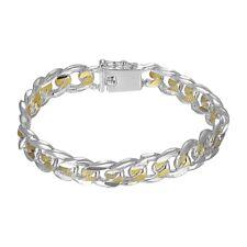 18K White Gold Plated Cuban Two Tone Bracelet