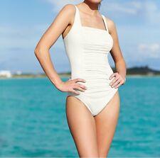 NWT Calvin Klein UPF SPF Swimsuit One Piece Maillot Pleat Front Sz 8 Milk Ivory