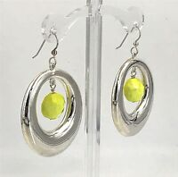 Estate Simon Sebbag .925 Sterling Silver Circle & Agate Bead Hook Wire Earrings