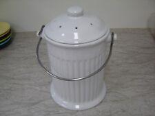 1 gallon ceramic compost bin kitchen pail counter top food trash white