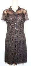 Phoebe Silk Navy & Tan Button Front Dress size 8