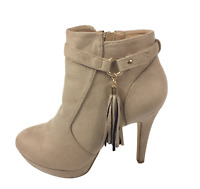 Womens Ladies Khaki Faux Suede High Heel Tassel Shoes Ankle Boots Size UK 6 New