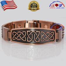 CHUNKY COPPER CELTIC KNOTS MAGNETIC LARGE BRACELET BUCKLE MEN X39C_CEL