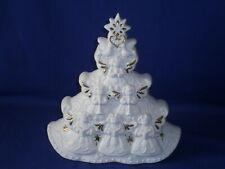 Vintage Porcelain White Christmas Tree Music Box 8½ inch Plays Oh Christmas Tree
