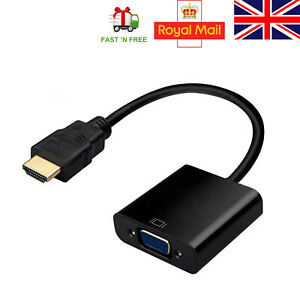 HDMI Male To VGA Female Adapter Converter With Audio 1080p for PC TV Monitor UK