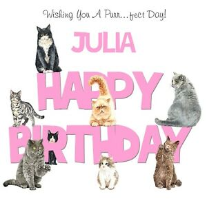 PERSONALISED BIRTHDAY CARD CRAZY CAT LADY - PURRRFECT DAY - ADD NAME 6X6