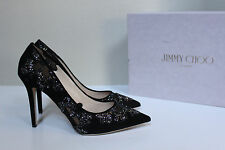 New sz 9.5 / 39.5 Jimmy Choo Karmel Black Crystal Mesh Point Toe Heel Pump Shoes