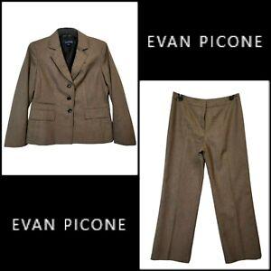 Evan Picone Women's Career Office Wear Blazer Suit & Pants Size 12 Brown