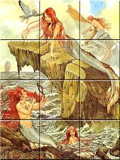 Ceramic tile Mural Mermaid Painting Reproduction 12.75 X 17 inches