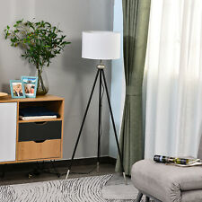 HOMCOM Modern Floor Lamp Standing Lamp Holder Bedroom Metal Tripod Silver