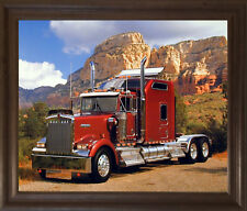 Maroon Kenworth Truck Transportation Wall Decor Brown Rust Framed Art Picture