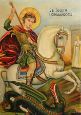 Saint George and the dragon oil painting icon