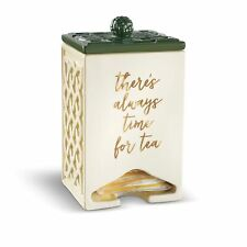 Celtic Green 6 x 4 Glossy Ceramic Kitchen Storage Organization Teabag Dispenser