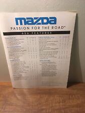 1996 Mazda 626 Dx Lx Es Features Sales Brochure