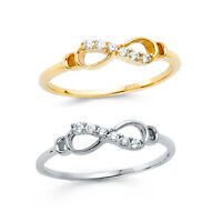 5-9 Women/'s Infinity Loop Clear CZ Fashion Ring 14k Yellow or White Gold