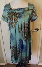 Harari XS Green Blue Brown Geometric Silk Lined Bubble Hem Shift Dress