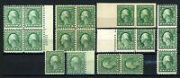 USAstamps Unused FVF US 1 Cent Washington Lot Scott 408, 498, 543 OG MNH & MH