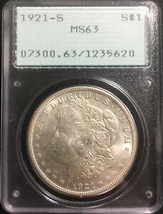 1921-S $1 Morgan Silver Dollar San Francisco Rattler Old Green PCGS OGH MS63 BU