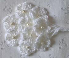 Foxy Flowers 9 Hand Crochet Applique White Flowers - Pearl Bead Centres - 3.5cm
