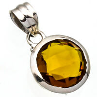 """FACETED CITRINE GEMSTONE 925 STERLING SILVER HANDMADE JEWELRY PENDANT 0.9"""""""