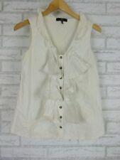 CUE Shirt/blouse Sz 10 White, grey stripe