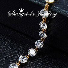 18K GOLD GF Ball SILVER Wedding Tennis BRACELET with SWAROVSKI Diamond EX755