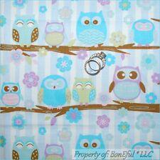 BonEful Fabric FQ Cotton Quilt Brown Aqua Blue Purple Flower OWL Stripe Tree Dot