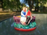 "VINTAGE MAJOLICA STYLE ART POTTERY~COUPLE ON BOAT~PLANTER~SALT CELLAR~BOWL 4""T"