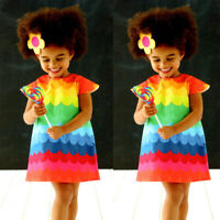 Toddler Kid Baby Girl Summer Rainbow Print Princess Vest Sleeveless Dress Outfit