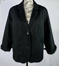 Studio Works Black Embroidered Button Dress Casual Womens Jacket Blazer Size16