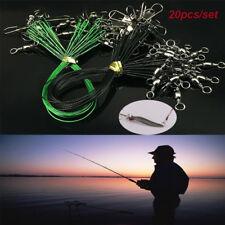 20x Rolling gira sobre un eje de seguridad Snap rastros cables de acero verde señuelos de pesca