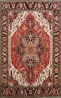 Geometric Heriz Serapi Vegetable Dye Oriental Area Rug Classic Hand-knotted 8x10