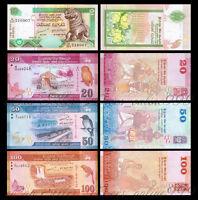 Set of 4pcs Banknotes,Sri Lanka 10+20+50+100 Rupees Paper Money,Uncirculated
