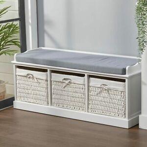 Hallway Bench Shoe Rack Storage Cabinet Baskets Drawers Organiser Cushion Seat